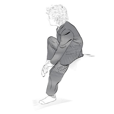Boy wearing socks. School boy dressing. Vector Illustration of Boy Dressing