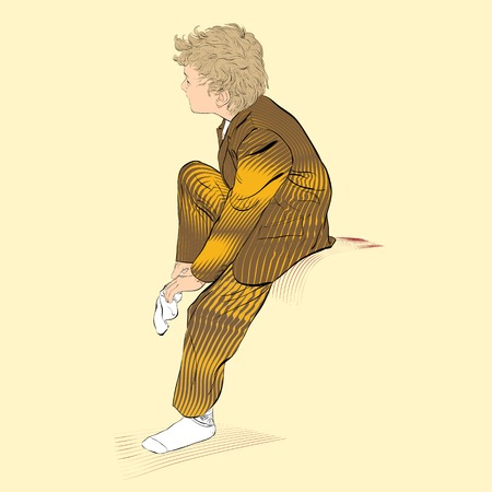 Junge trägt Socken. Schuljunge anziehen. Vektor-Illustration von Jungen-Dressing Vektorgrafik