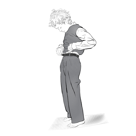 Boy fastens a button. Vector Illustration of Boy Dressing