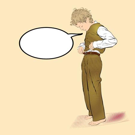 Boy fastens a button. Vector Illustration of Boy Dressing Stok Fotoğraf - 126203918