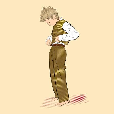 Boy fastens a button. Vector Illustration of Boy Dressing Stok Fotoğraf - 115269266