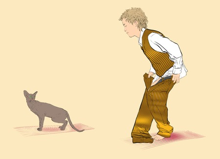 A boy and a cat. Boy is dressing trousers. Vector Illustration of Boy Dressing Çizim