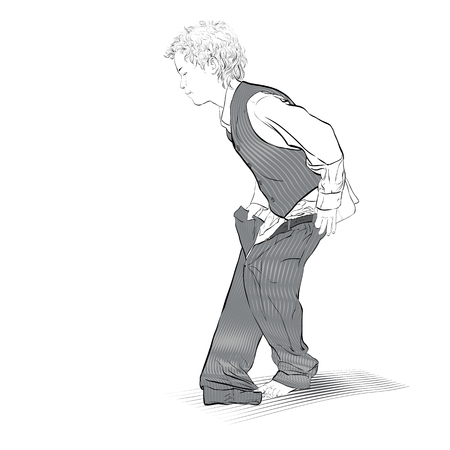 Boy is dressing trousers. Vector Illustration of Boy Dressing Çizim