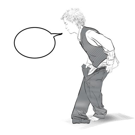 Boy is dressing trousers. Vector Illustration of Boy Dressing 일러스트