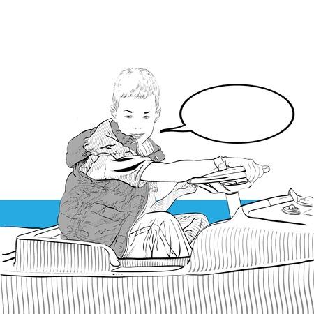 Young boy driving car. Boy riding a bumper car. Vector illustration. Illustration