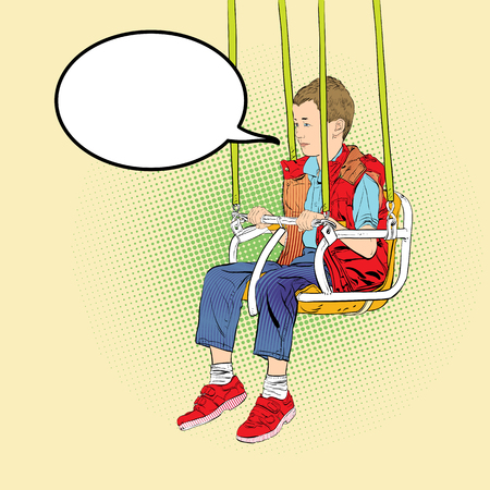 Boy has fun on the rides. Amusement park. Playground. Swinging on swing. Vector illustration. Stok Fotoğraf - 125337087