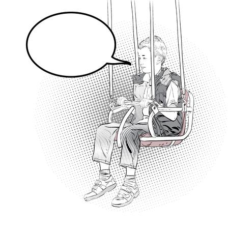 Boy has fun on the rides. Amusement park. Playground. Swinging on swing. Vector illustration.