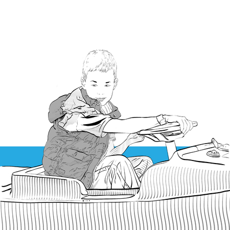 Young boy driving car. Boy riding a bumper car. Vector illustration. Stok Fotoğraf - 116556203