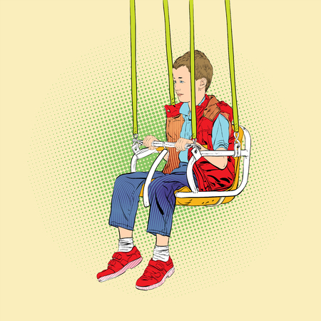 Boy has fun on the rides. Amusement park. Playground. Swinging on swing. Vector illustration. Stok Fotoğraf - 116556207