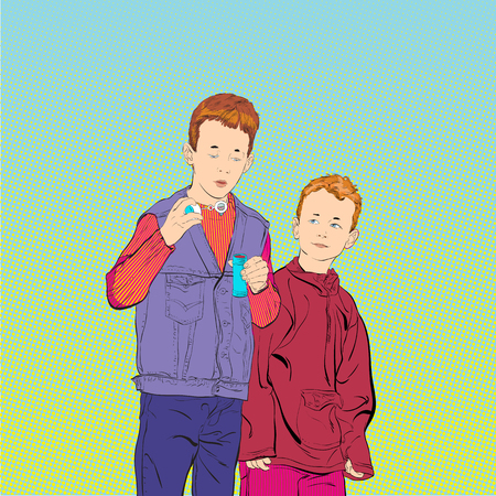 Boys are blowing soap bubbles. Two brothers.. Happy time. Funny time Illustration