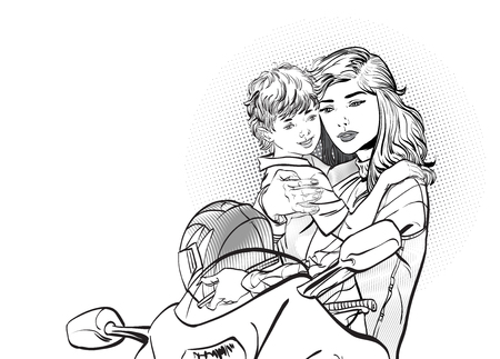 Mom puts on her son's helmet for a safe ride. Mom teaches her son to ride a cycle hand-drawn picture. The character of a woman with her son riding a motobike. Vector illustration.