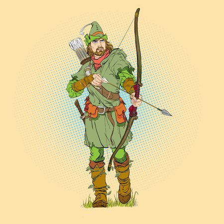 Robin Hood in a hat with feather. Young soldier. Noble robber. Defender of weak. Medieval legends. Heroes of medieval legends. Halftone background. Stock Illustratie