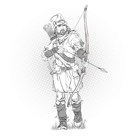 Robin Hood in a hat with feather. Young soldier. Noble robber. Defender of weak. Medieval legends. Heroes of medieval legends. Halftone background. Stok Fotoğraf - 122477729
