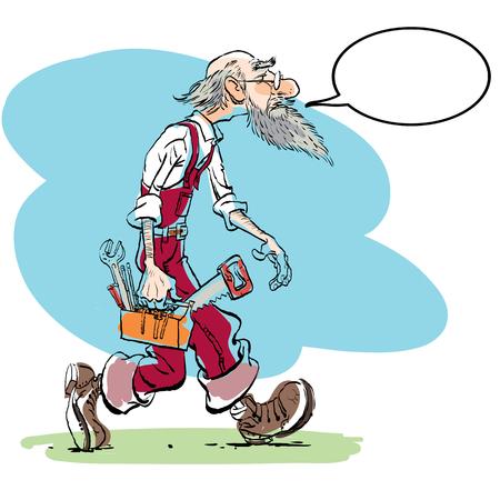 Funny illustration of old man cartoon character. Isolated vector illustration. Illustration