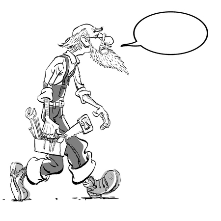 Funny illustration of old man cartoon character. Isolated vector illustration. 일러스트