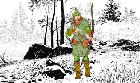 Robin Hood w kapeluszu z piórkiem. Młody żołnierz. Szlachetny złodziej. Obrońca słabych. Średniowieczne legendy. Bohaterowie średniowiecznych legend. Tło rastra.