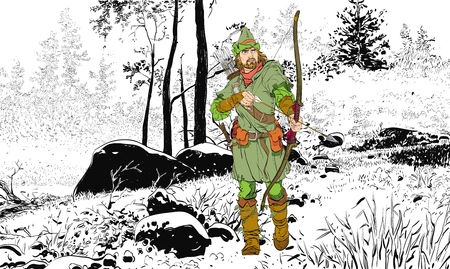 Robin Hood in a hat with feather. Young soldier. Noble robber. Defender of weak. Medieval legends. Heroes of medieval legends. Halftone background. Illustration