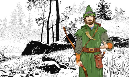 Robin Hood. Robin Hood in a hat with feather. Young soldier. Noble robber. Defender of weak. Medieval legends. Heroes of medieval legends. Stok Fotoğraf - 122477736