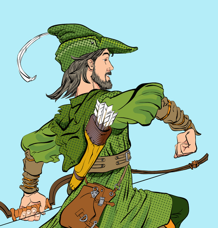 Marching Robin Hood. Robin Hood in a hat with feather. Young soldier. Noble robber. Defender of weak. Medieval legends. Heroes of medieval legends. Halftone background.