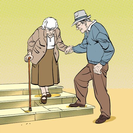 Old senior man and woman in glasses standing or walking together arm in arm. Aged grey haired couple. Flat style modern vector illustration isolated on background.