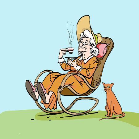 Une vieille femme boit du thé dans son fauteuil à bascule. Chat et mamie.