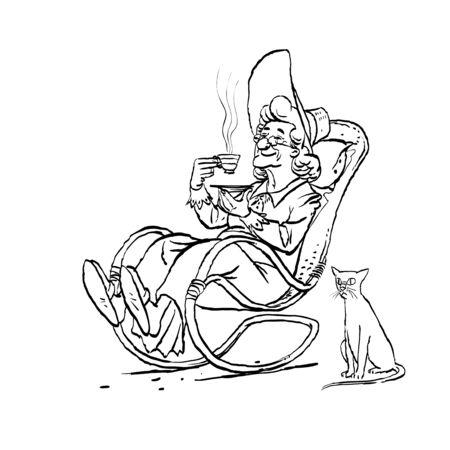 Alte Frau trinkt Tee in ihrem Schaukelstuhl. Katze und Oma. Vektor-Illustration