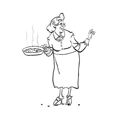 Grandma cooking. Cartoon of an old granny holding a pan. Stok Fotoğraf - 134837167