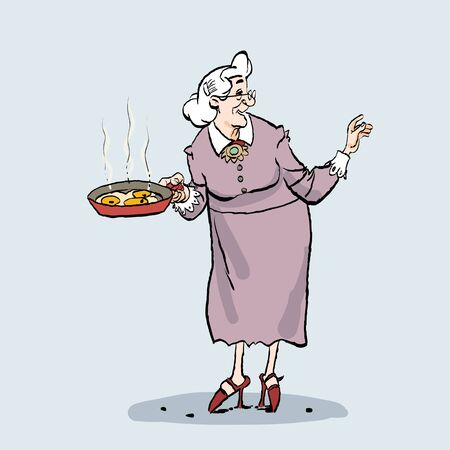 Old lady cooking. Cartoon of an old granny holding a pan.