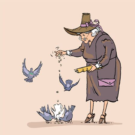 Senior Woman Feeding Birds, Old Lady Daily Activity. Grandmother feeds pigeons