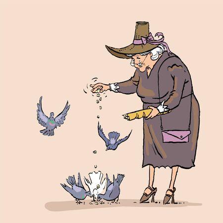 Senior Woman Feeding Birds, Old Lady Daily Activity. Grandmother feeds pigeons Stok Fotoğraf - 134868236