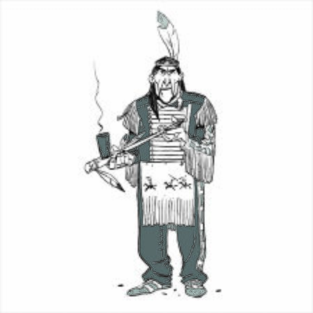 Indian chief smoking a pipe. Old Indian standing. Çizim