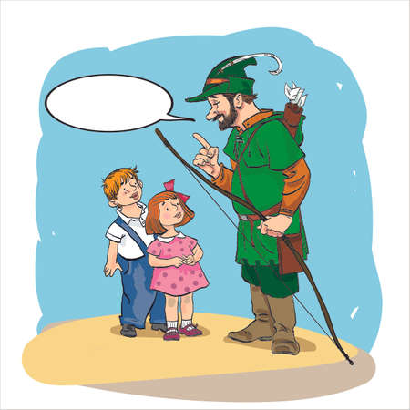 Robin Hood standing with bow and arrows. Robin Hood teaching children. Robin Hood in retirement. Medieval legends.