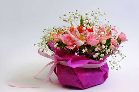 Bouquet of flowers in basket Stock Photo - 6589331