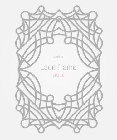 lazer: Decorative vector frames and border. Wedding or greeting card. Lazer cut rectangle ornament. Illustration