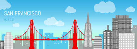 San Francisco flat illustration. Day view. Background with city panorama on a blue sky. Travel picture. Poster ad design Illustration