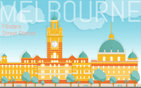 Flinders street station illustration. View from river bank. Design template fro post cards, web banners, advertising.