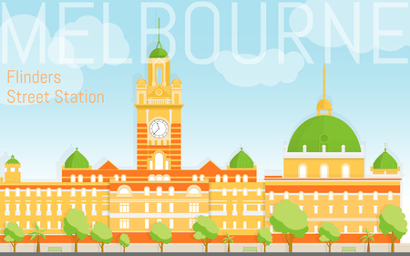 Flat design Flinders street station illustration. View from river bank. Design template fro post cards, web banners, advertising. Illustration