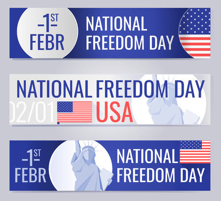 february 1: Web banners set for National freedom day USA Illustration