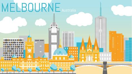 st pauls: Melbourne city flat vector illustration.
