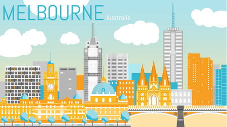 Melbourne city flat vector illustration.