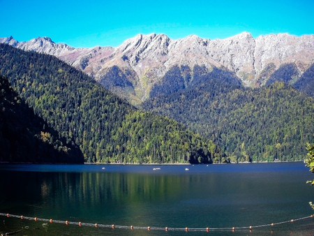 A large lake in the mountains
