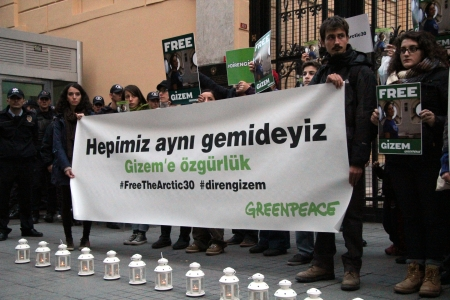 tonight: Gizem has been arrested with other 28 Greenpeace protestors and 2 journalists at North Sea by Russian Security Force after they protested Oil research at North Sea   Tonight there was protests in istanbul at russian consulate  6 October 2013 Editorial