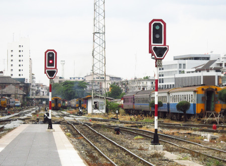 Signal Pole in Railway Station                               photo