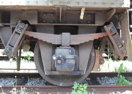 goods train: Freight train or goods train bogies                               Stock Photo