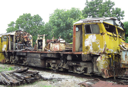Diesel locomotive is damage