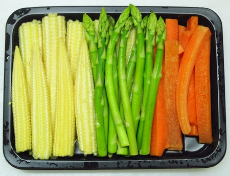 baby corn: Baby corn,carrot and asparagus Stock Photo