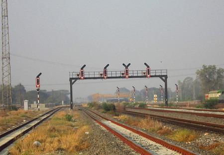 railway station: Signal Pole in Railway Station Stock Photo
