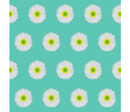 bluegreen: Seamless background. Daisies on blue-green background. Illustration
