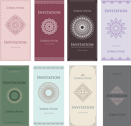 blanks: A set of forms, blanks for text. Graceful lace ornament. Colored cards, invitations.