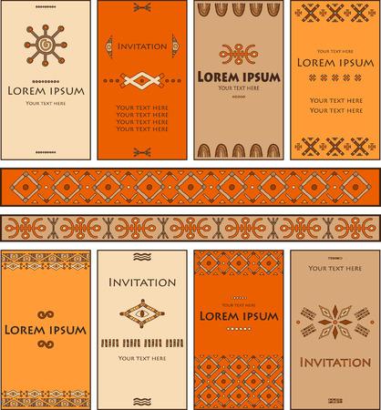pintura rupestre: Un conjunto de tarjetas con elementos en el estilo africano. cubierta de la tarjeta hermosa y brillante, en blanco para el texto. Vectores